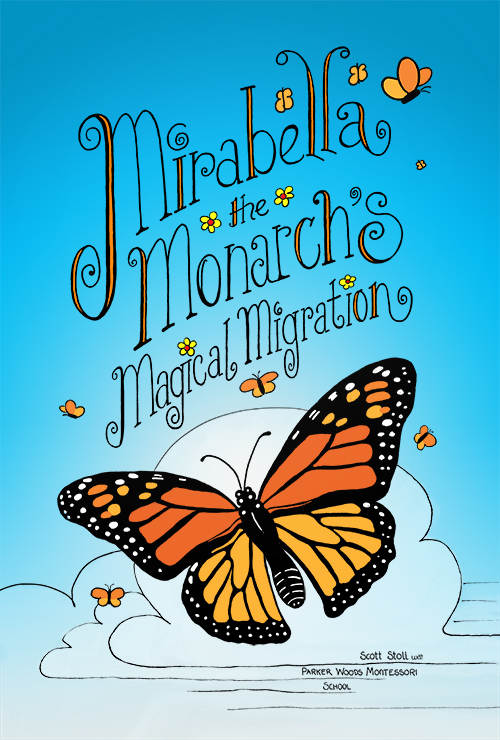 Illustration of monarch butterflies flying through the clear blue sky.