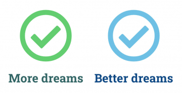 Two checkmarks illustrating improvements in both quantitative and qualitative types of dreams or life goals.
