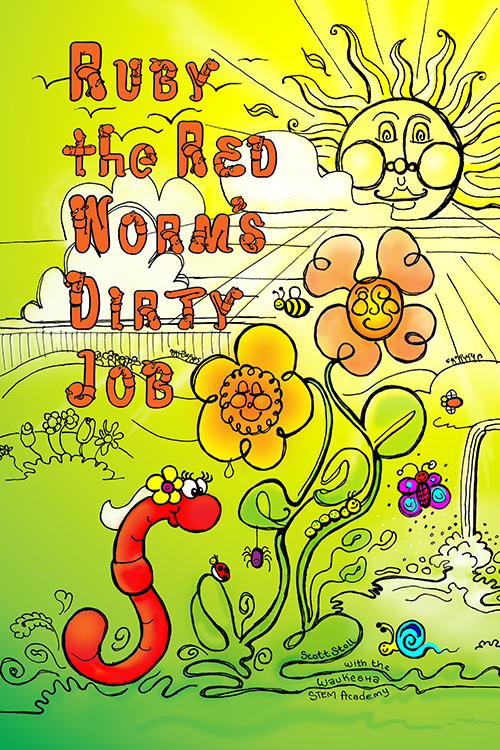 Colorful illustration of Ruby the Red Worm admiring some flowers and talking to her friends Ladybug and Spider.