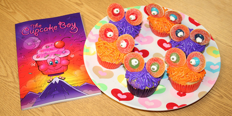Purple and orange cupcakes matching the Cupcake Boy Cover