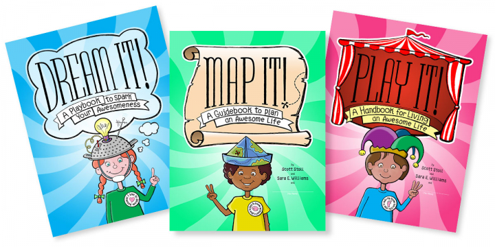 The book covers for our Dream It!, Map It! and Play It! featuring 3 different characters, hats and buttons.