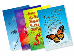 Scott's English chapter books illustrated by elementary students. Falling Uphill: The Secret of Life. The Cupcake Boy. Ruby the Red Worm's Dirty Job. Mirabella the Monarch's Magical Migration.