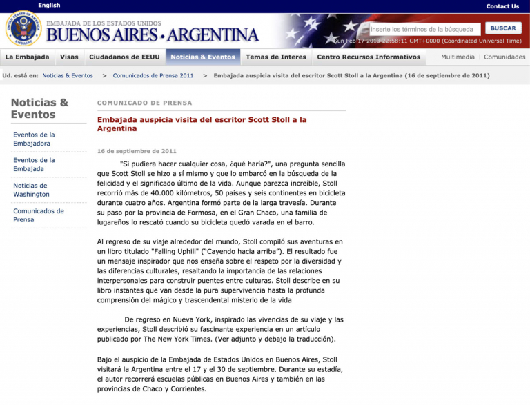 Screen Shot US Embassy Argentina press release