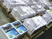 The new book on the floor of the printer's shop waiting to be bound. Each stack is a set of pages.