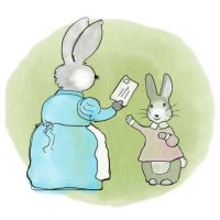 Mama Bunny gives Fluffy a very important letter to mail.